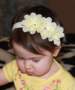 Baby Girl Triple Small Ivory Cream Flower Rose Headband