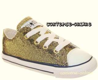KIDS* CONVERSE All Star GOLD SEQUINS Trainers SIZE UK 9