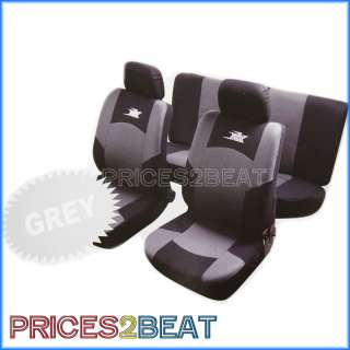 6PC CAR SEAT COVER SET BLACK SILVER RX RACING UNIVERSAL