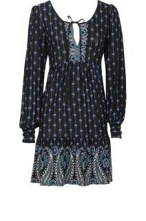 BNWT OASIS BORDER PRINT PAISLEY DRESS BLACK/BLUE MULTI