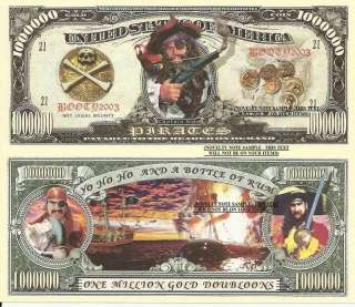 Pirates Captain Kidd One Million Gold Doubloons x 4 Paper Dollar Bill