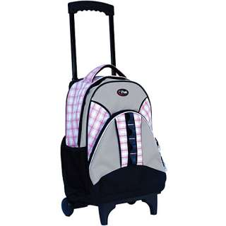 CalPak Grand Stand Rolling Backpack   Pink Plaid