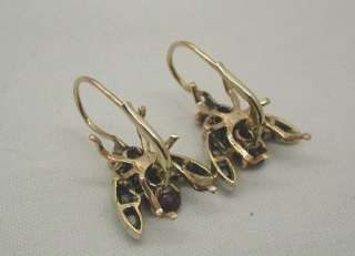 Superb Pair Gold Ruby Emerald & Diamond Insect Earrings