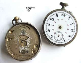 Pocket Watch Cases, 2 Movement Frames, 1 Face Dial LOT