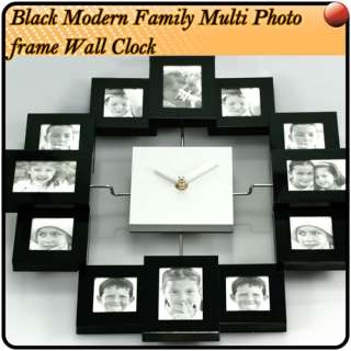 Pro Large Modern Multi Photo Frame Wall Clock Black UK