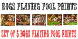 Pool Table Pictures Dogs Playing Pool 5 x Iconic Prints