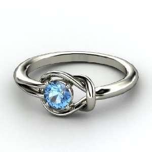 Hercules Knot Ring, Round Blue Topaz Palladium Ring