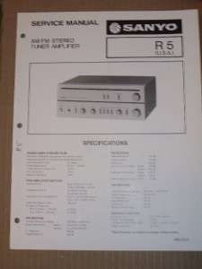 Sanyo Service/Repair Manual~R5 Tuner Amplifier R 5 Amp