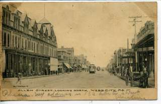MISSOURI DOWNTOWN ALLEN STREET SCENE ANTIQUE VINTAGE POSTCARD TROLLEY