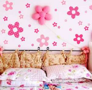 VINYL Pink Flowers Girls Room/Nursery Wall Stickers