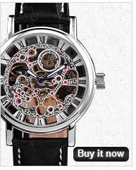 New KS Auto Mechanical Skeleton Leather Men Wrist Watch