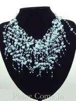 Conjunto Collar Perlas Imitacion Spray Azul Joyeria Boda Nuevo