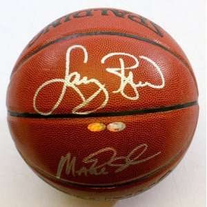 Larry Bird and Magic Johnson Autographed Basketball   Mounted Memories