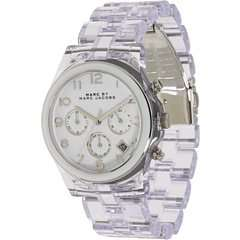 Marc Jacobs Clear Acrylic Band & White Chronograph Watch
