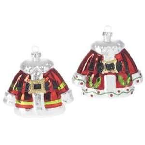 Raz Santa Claus coat sale Christmas ornament set of 2