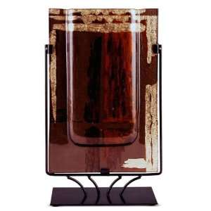 Brown, Red and Gold Leaf 18 Inch Abstract Rectangle Vase with Metal