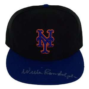 Willie Randolph Signed Black/Blue Mets Hat Silver Sig