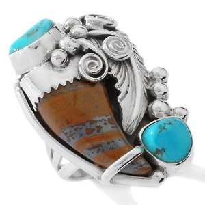 Tigers Eye and Sleeping Beauty Turquoise Bear Claw Ring