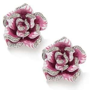 Flowers to Faint For Enameled Crystal Clip On Earrings