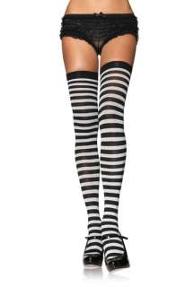 Nylon Thigh High Stockings with Stripe for Halloween   Pure Costumes