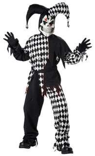 Boys Evil Jester Black White Costume