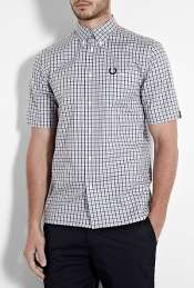 Blue Check Notch Pocket Short Sleeve Shirt by Fred Perry Laurel Wreath