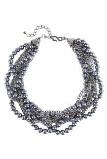 Kenneth Jay Lane  Black pearl and chain plait necklace by Kenneth Jay