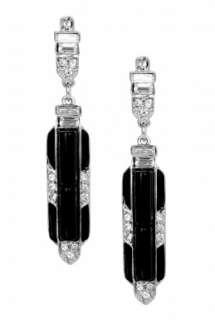 Rhinestone Black Deco Earrings by Kenneth Jay Lane   Metallic   Buy
