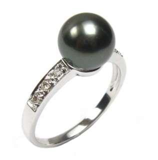 9mm Tahitian Black Pearl 2.0g 14K White Gold 0.08CT Diamond Ring