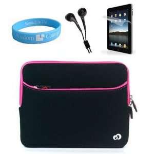 Apple iPad Glove Neoprene Black Pink Case + Anti Glare Screen