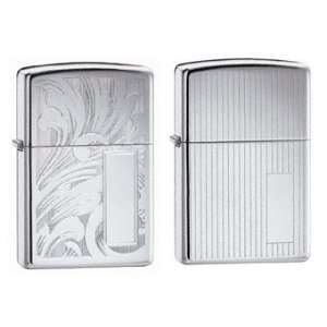 Zippo Lighter Set   Scroll Design, High Polish Chrome, and
