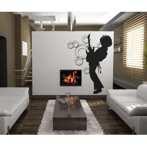 Vinyl Wall Decal Sticker 70s guitar player #OS_AA141B