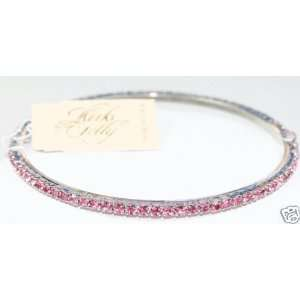 Kirks Folly Sparkling Crystal Bangle Bracelet ~ pink