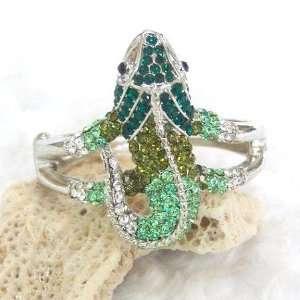 & Multi Green Color Crystal Lizard Bangle Bracelet