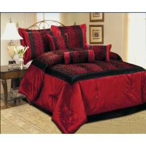 Faux Silk Black / Red Comforter Set Bedding in a bag