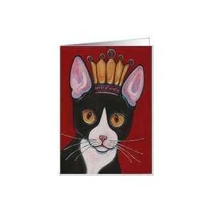 Birthday Queen Tuxedo Black and White Kitty Cat Card
