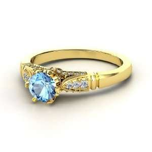Ring, Round Blue Topaz 14K Yellow Gold Ring with Diamond Jewelry