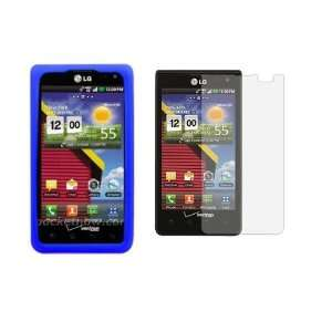 Blue Soft Silicone Skin Gel Protective Cover Case + Clear
