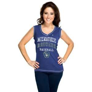 Milwaukee Brewers Royal Blue Womens My Crush Sleeveless T Shirt