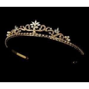 Gold Pearl Rhinestone Crystal Bridal Tiara Headband Jewelry