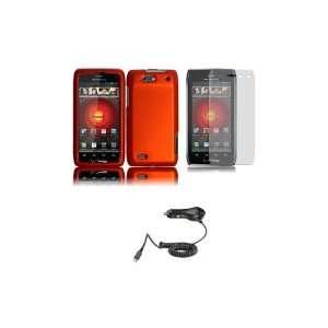 DROID 4 (Verizon) Premium Combo Pack   Orange Hard Shield Case Cover