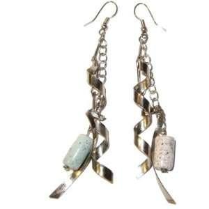 Jasper Earrings 08 Picture Silver Spiral Chain Green Crystal Healing