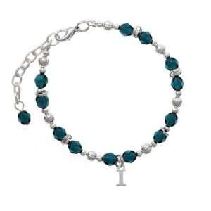 Small Silver Initial   I Navy Czech Glass Beaded Charm Bracelet