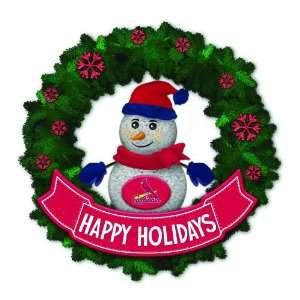 Cardinals Lighted Snowman Artificial Christmas Wreath