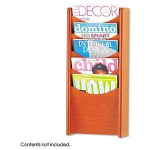 Solid Wood Wall Mount Literature Display Rack Electronics