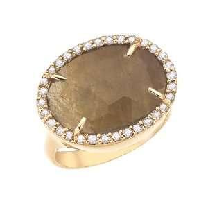 14k yellow gold White diamonds and rose cut sapphire ring Jewelry