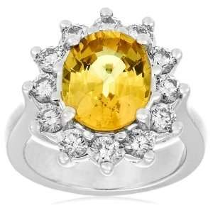 14k White Gold Oval Cut Yellow Sapphire and Diamond Ring Jewelry