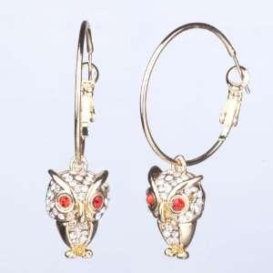 Hoop Dangle Cute Red Eye Owl Crystal Earrings Pugster Jewelry
