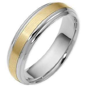 Two Tone 14 Karat Gold Comfort Fit Wedding Band Ring   6.25 Jewelry