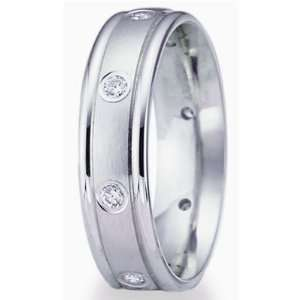 5.0 Millimeters 14 Karat White Gold Diamond Wedding Ring
